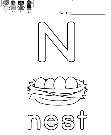Letter N Worksheets for Preschool