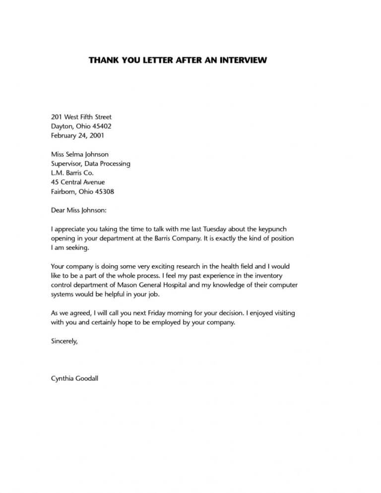 How and when to say thank when you are job searching example03 after interview thank you letter expocarfo
