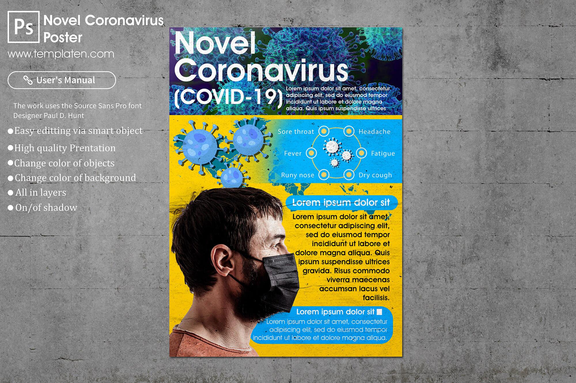 Free Corona Virus Poster PSD Template