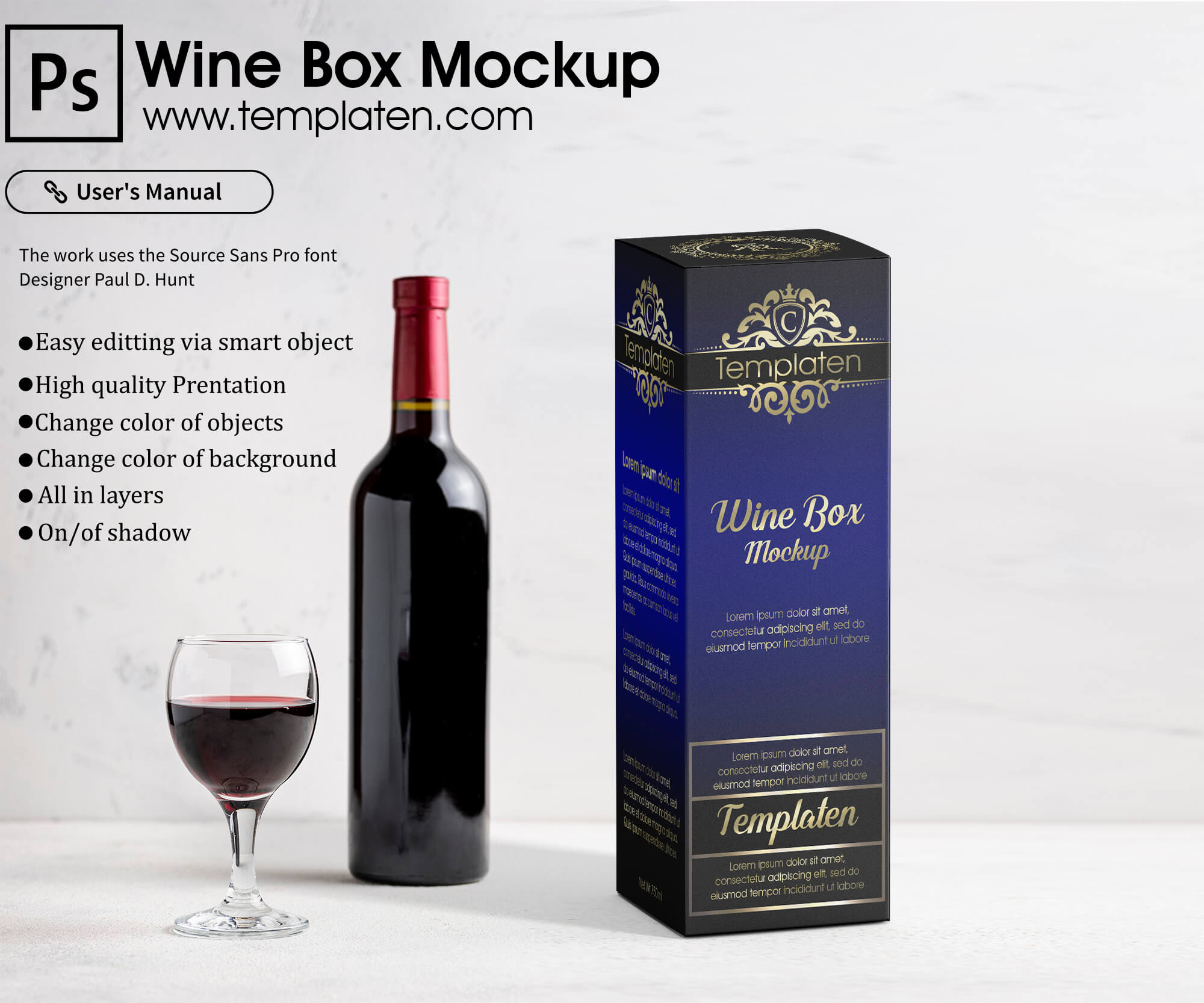 Free Wine Box Packaging PSD Template