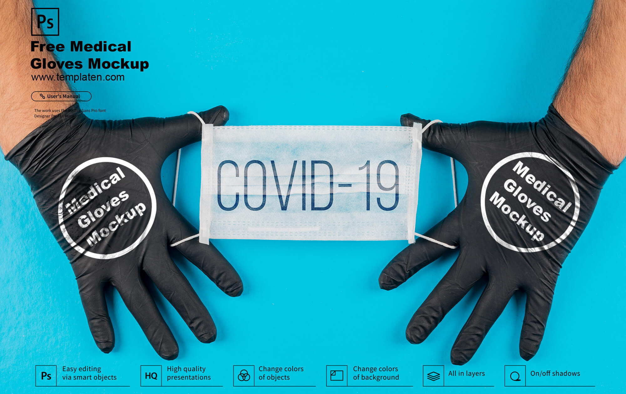 Free Medical Gloves PSD Template