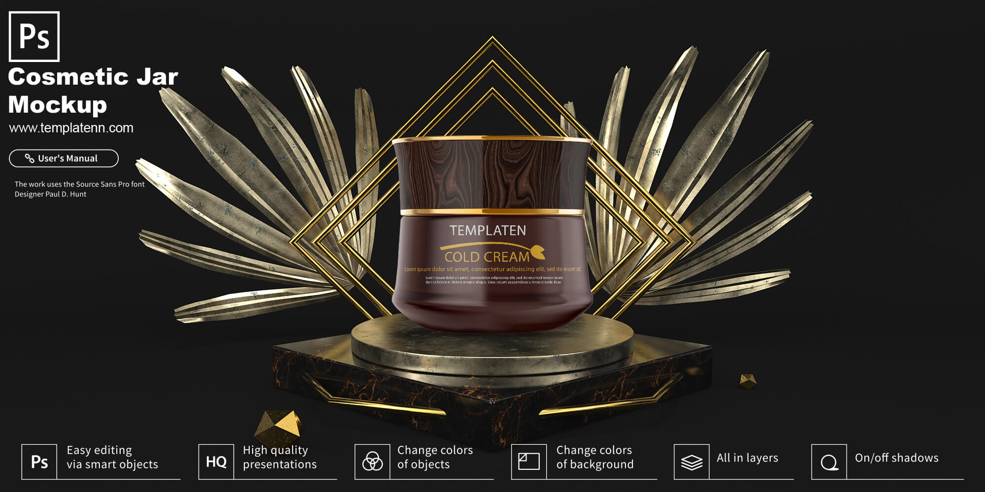 Free Cosmetic Jar PSD Template