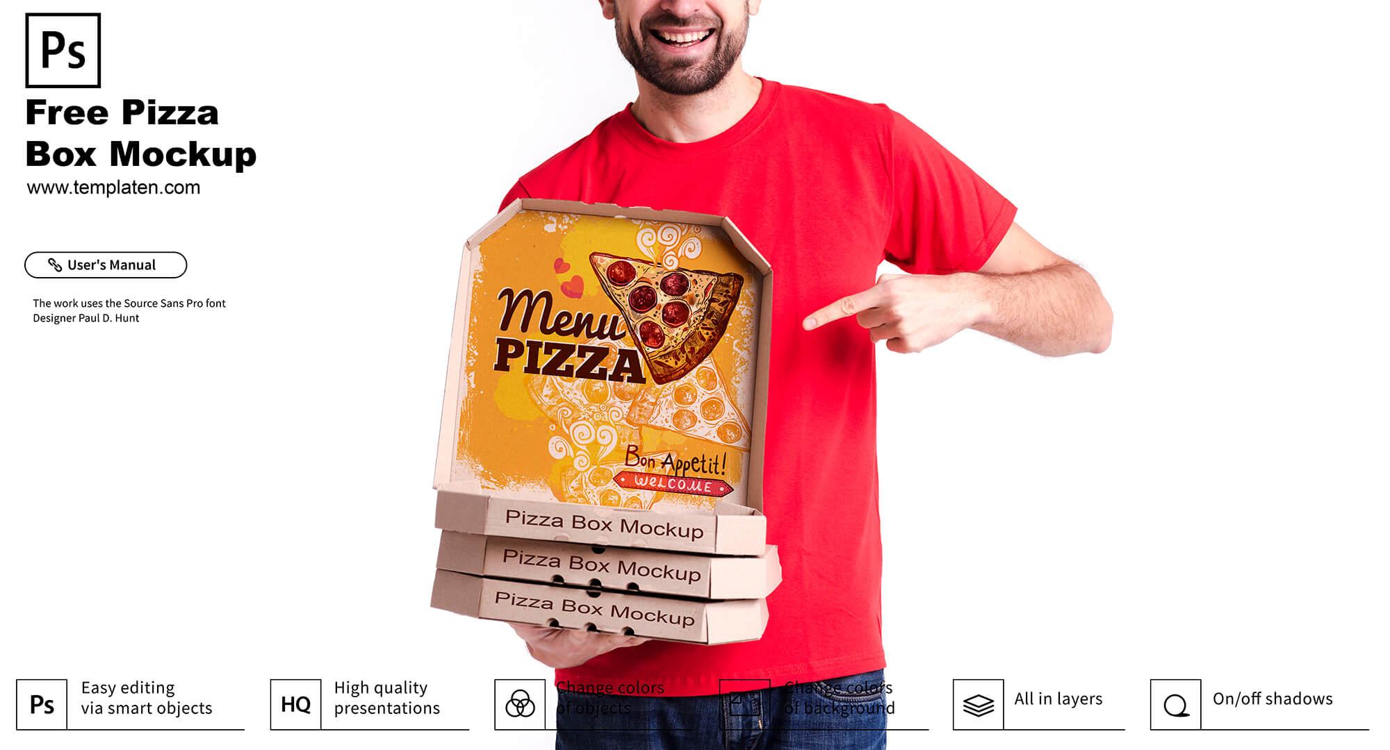 Free Pizza Box PSD Template