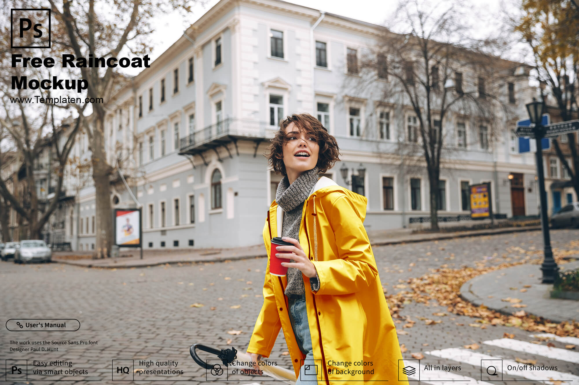 Free Raincoat PSD Template
