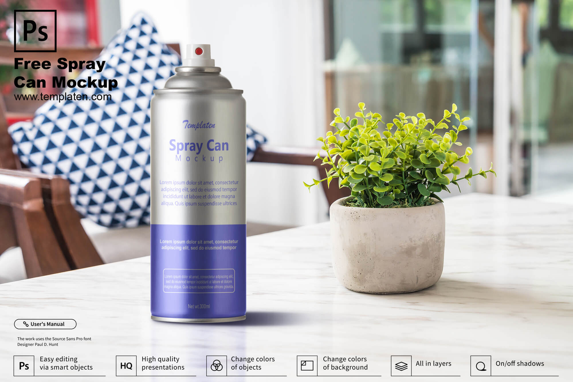 Free Spray Can PSD Template