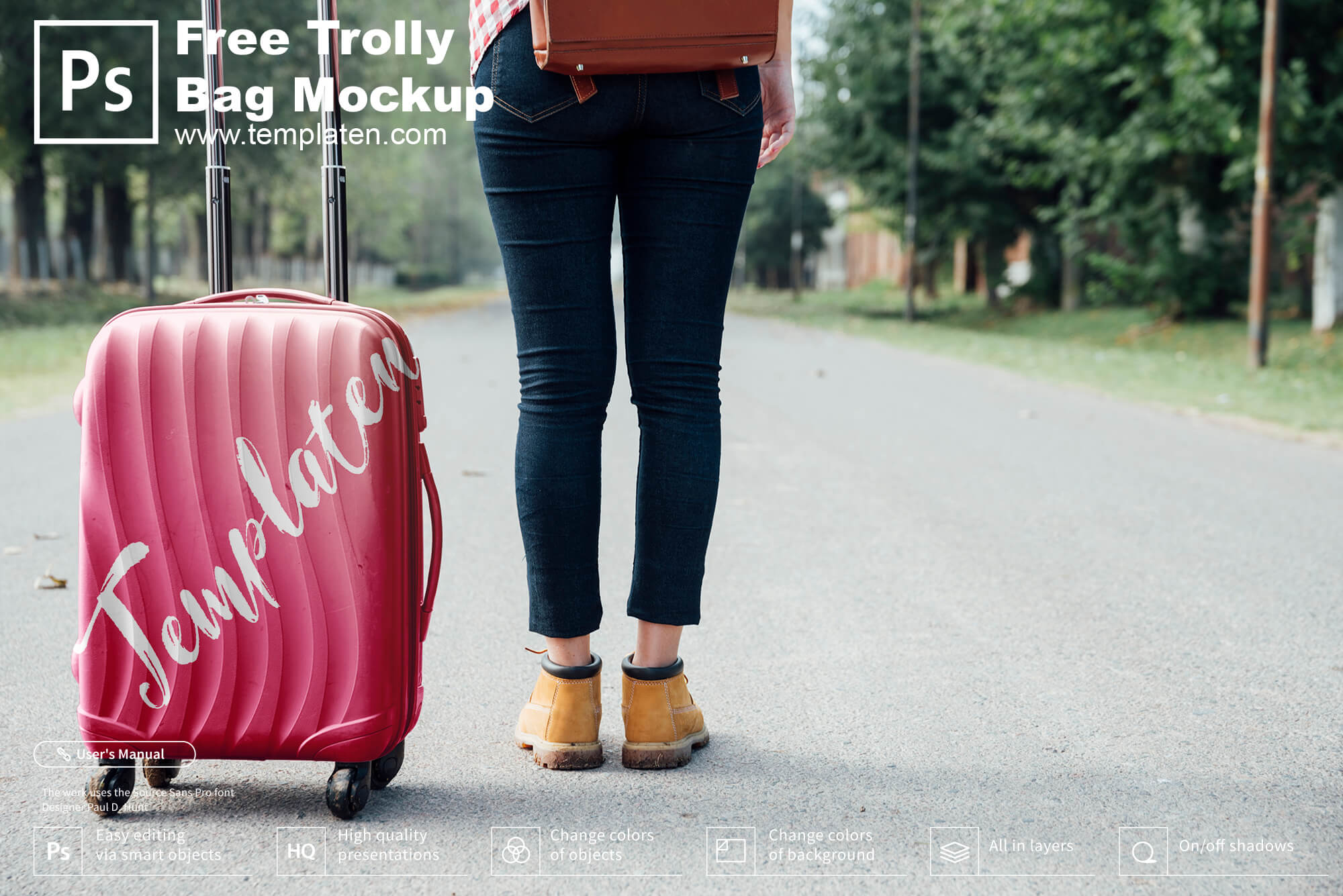Free Trolly Bag PSD Template