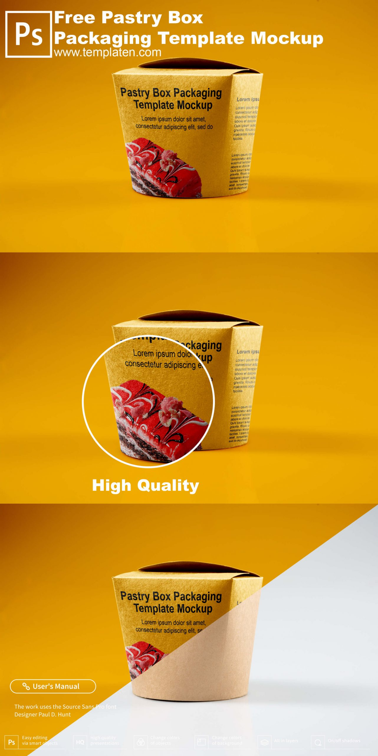 Free Pastry Box Packaging PSD Template