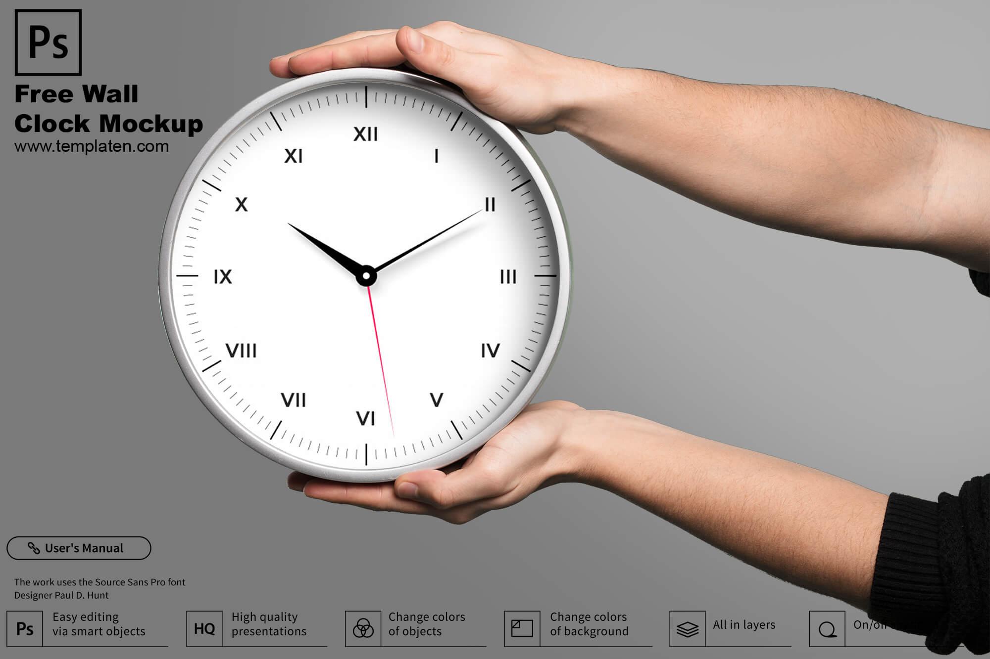 Free Wall Clock PSD Template