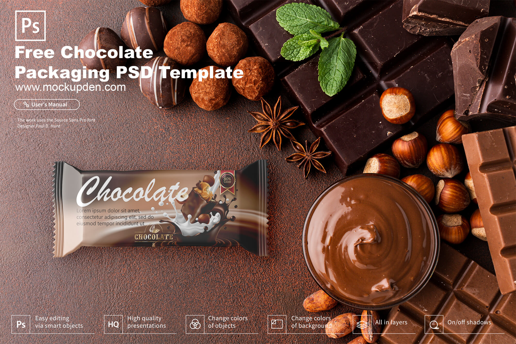 chocolate packaging PSD template