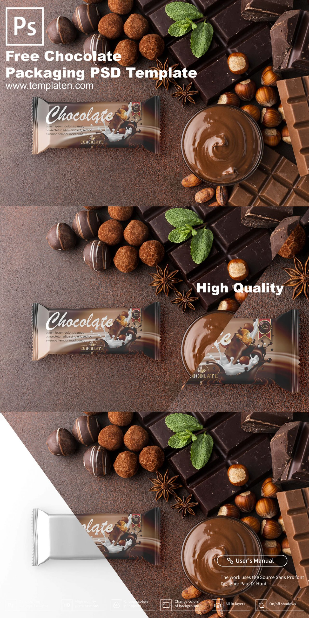 Free chocolate packaging PSD Template