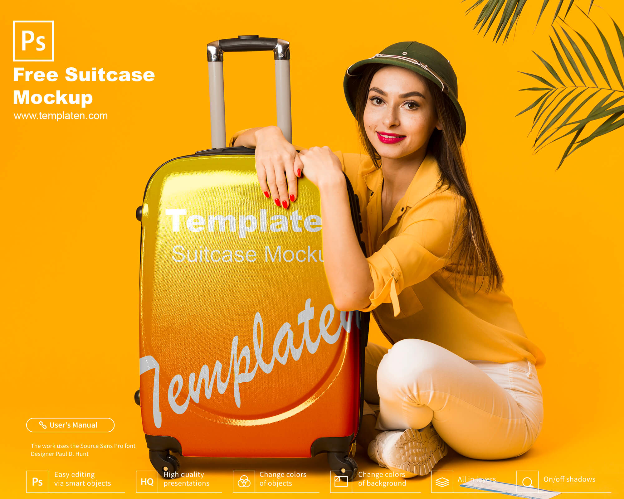 Free Suitcase PSD Template
