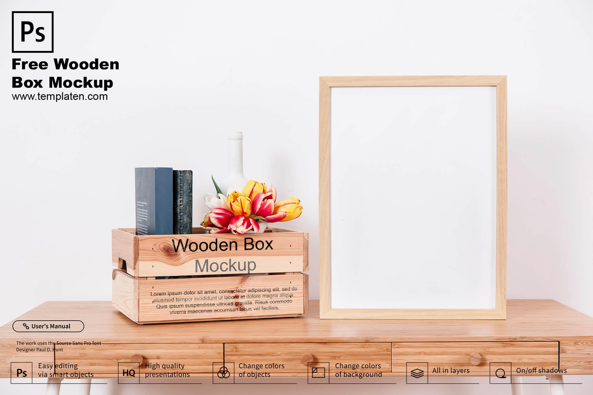 Free Wodden Box PSD Template
