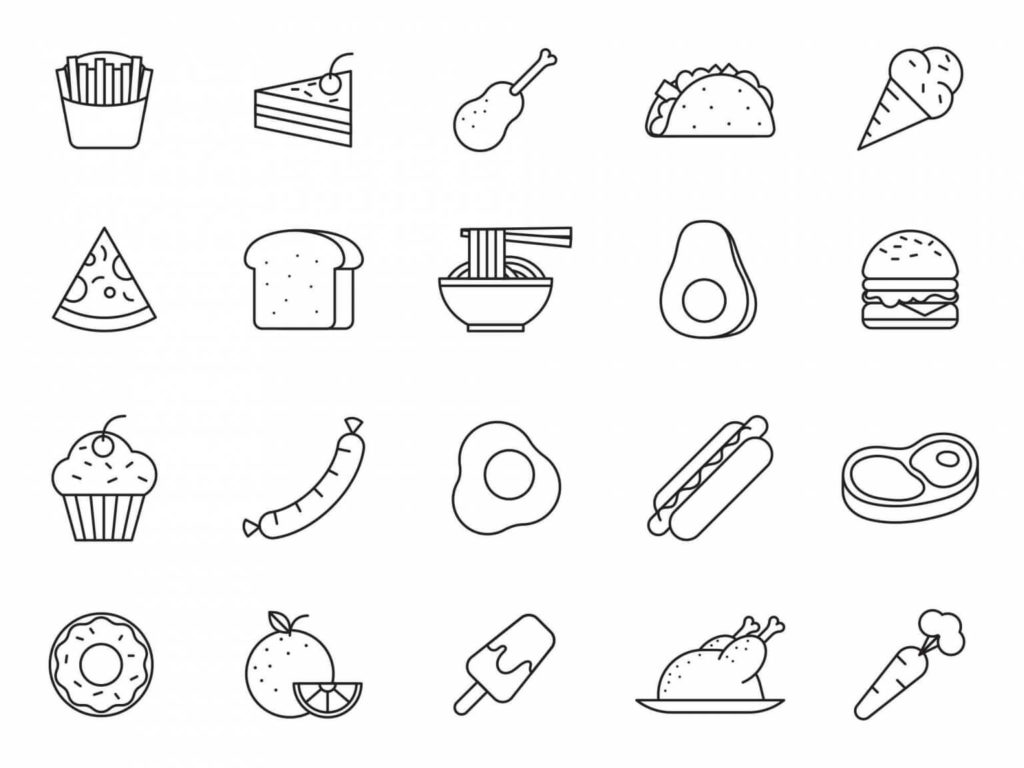 20 Clean Free Food Vector Icons