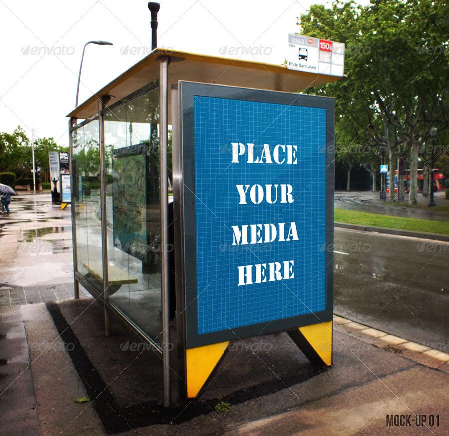 Bus Stop Poster Mockup