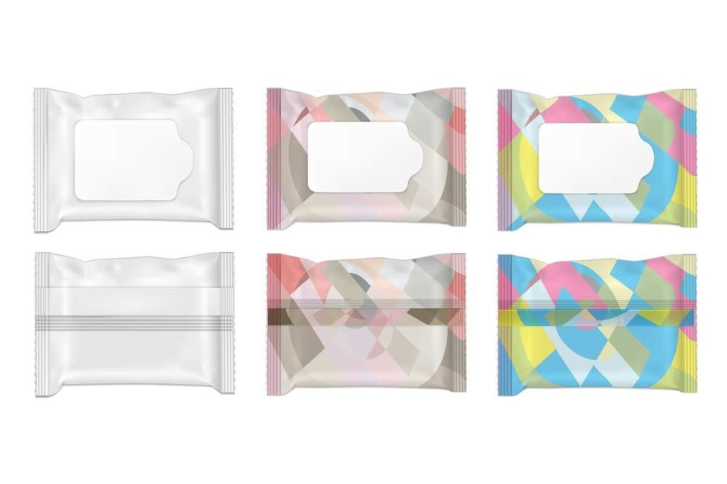 Color and white wet wipes package