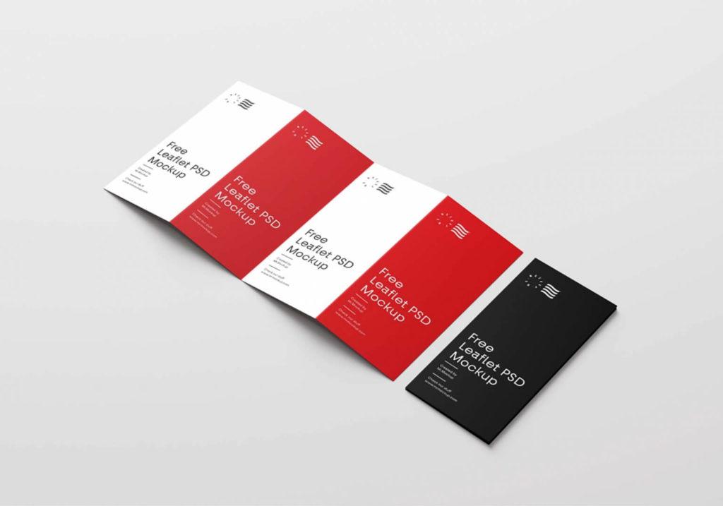 Free Four Fold Realistic Brochure PSD Mockup
