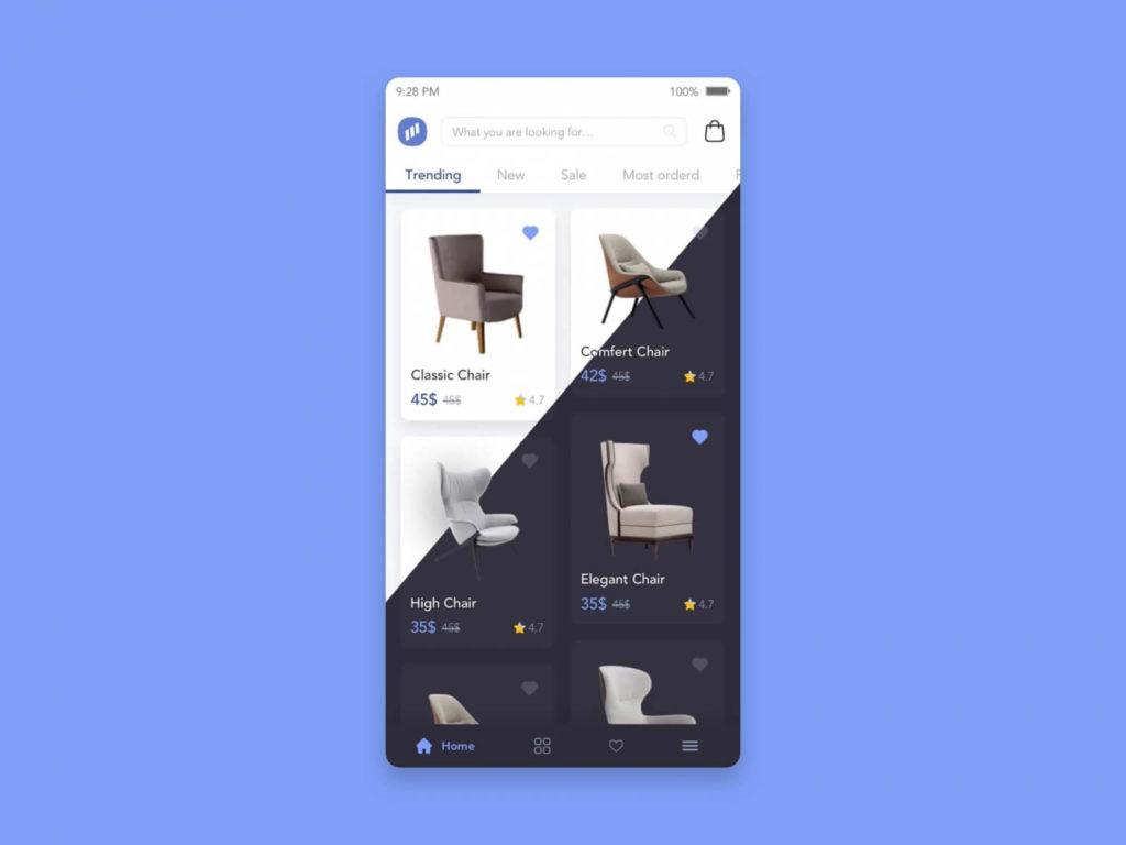 Free Furniture Store App UI Template (Sketch)