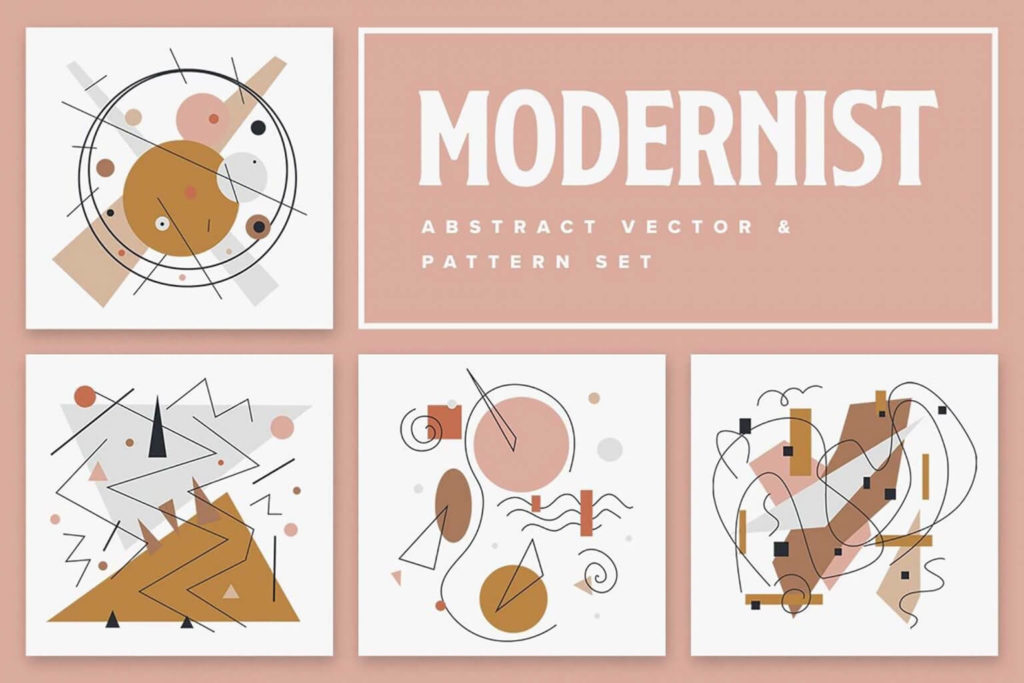 Free Modern Abstract Vector Patterns SET in PSD