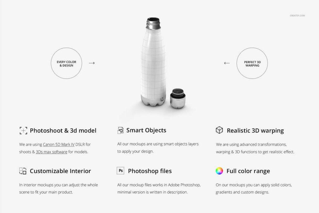 Insulated Vacuum Bottle Mockup Set