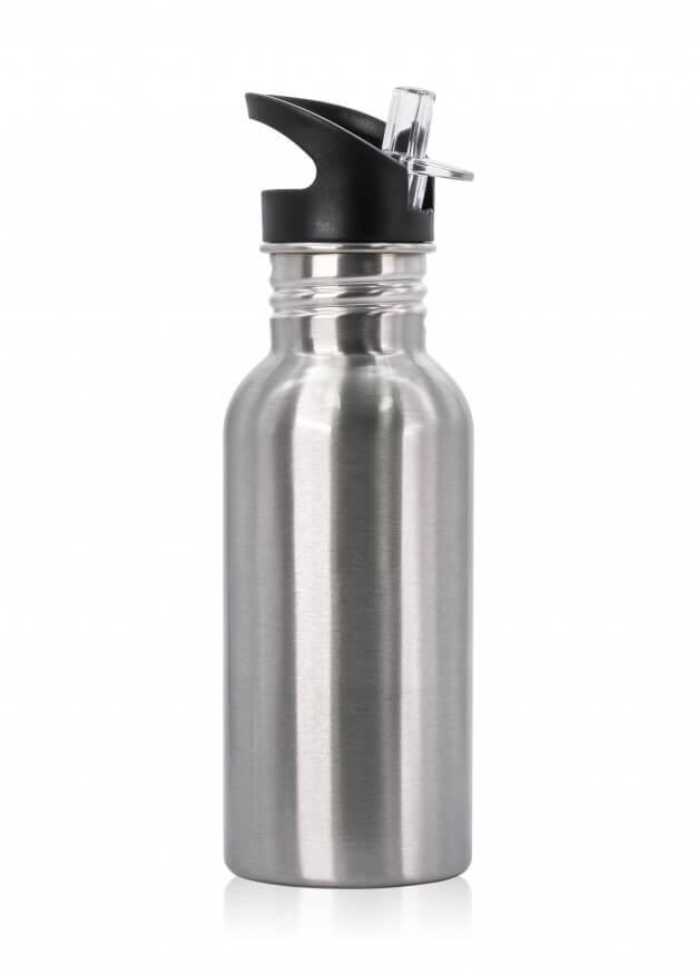 Metallic bottle and plastic tube isolated on white background. Premium Photo