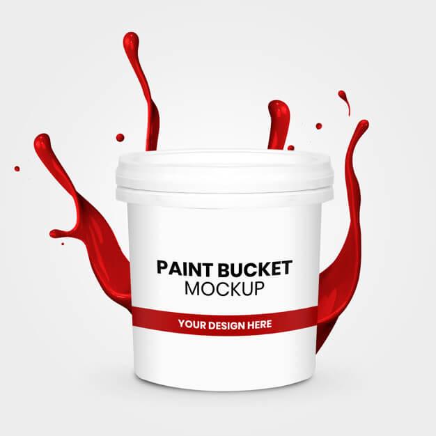 Paint bucket mockup with splash Premium Psd