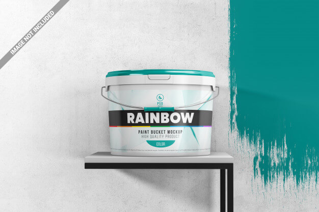Paint bucket on a stand scene mockup Premium Psd