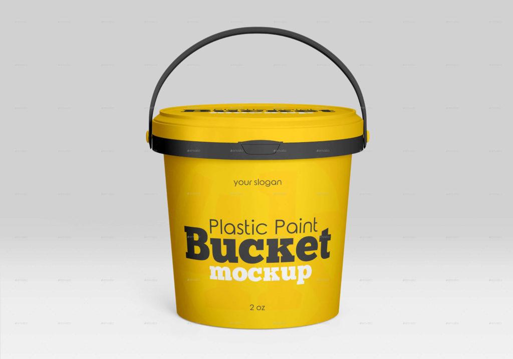 Plastic Paint Bucket Mockup Set
