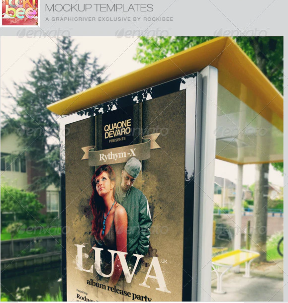 Realistic Bus Stop Poster Mockup Templates