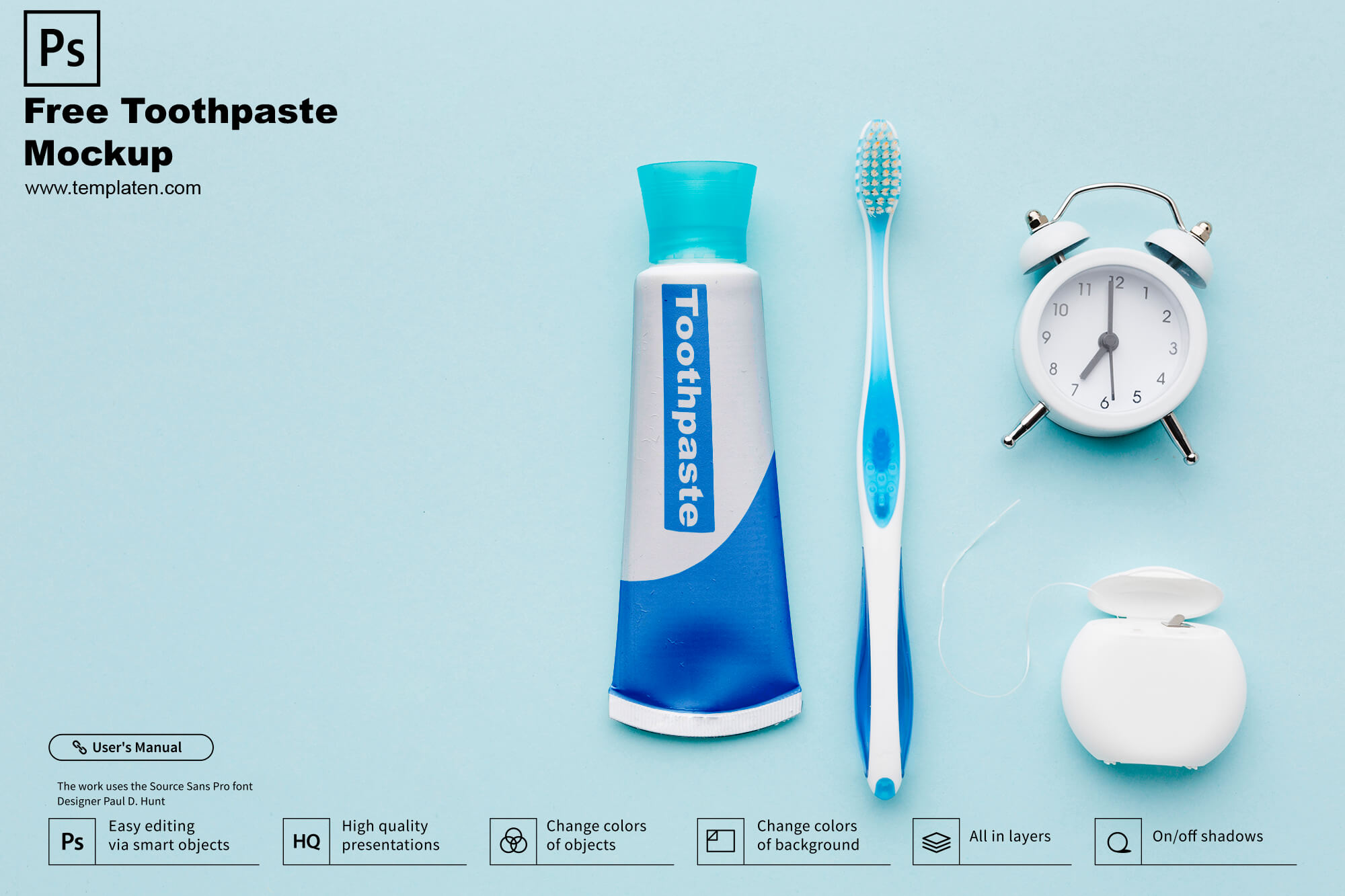 Free Toothpaste PSD Template