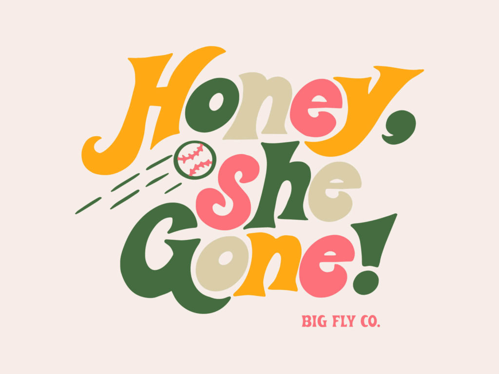 Big Fly Funky Honey Tee Typography Illustration