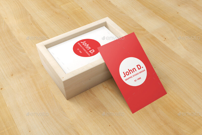 Business Card in Wooden Box Mockup