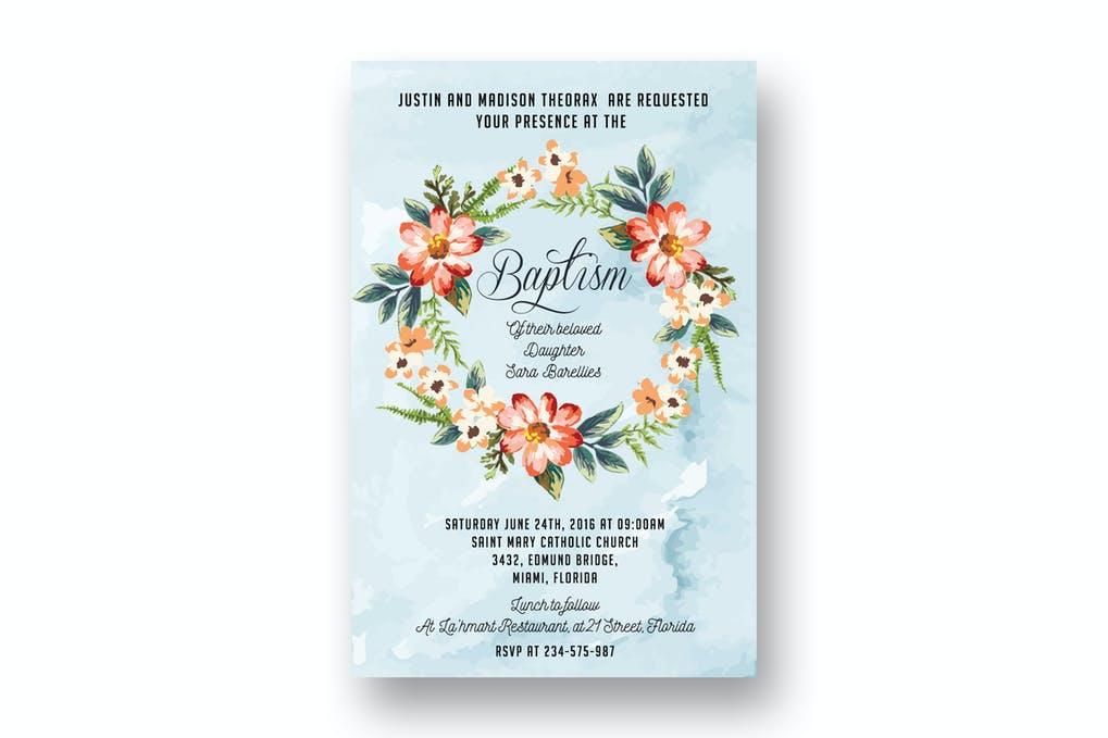 DIY Watercolor Floral Baptism Invitation