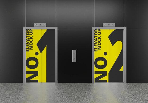 Dual elevator mockup Premium Psd
