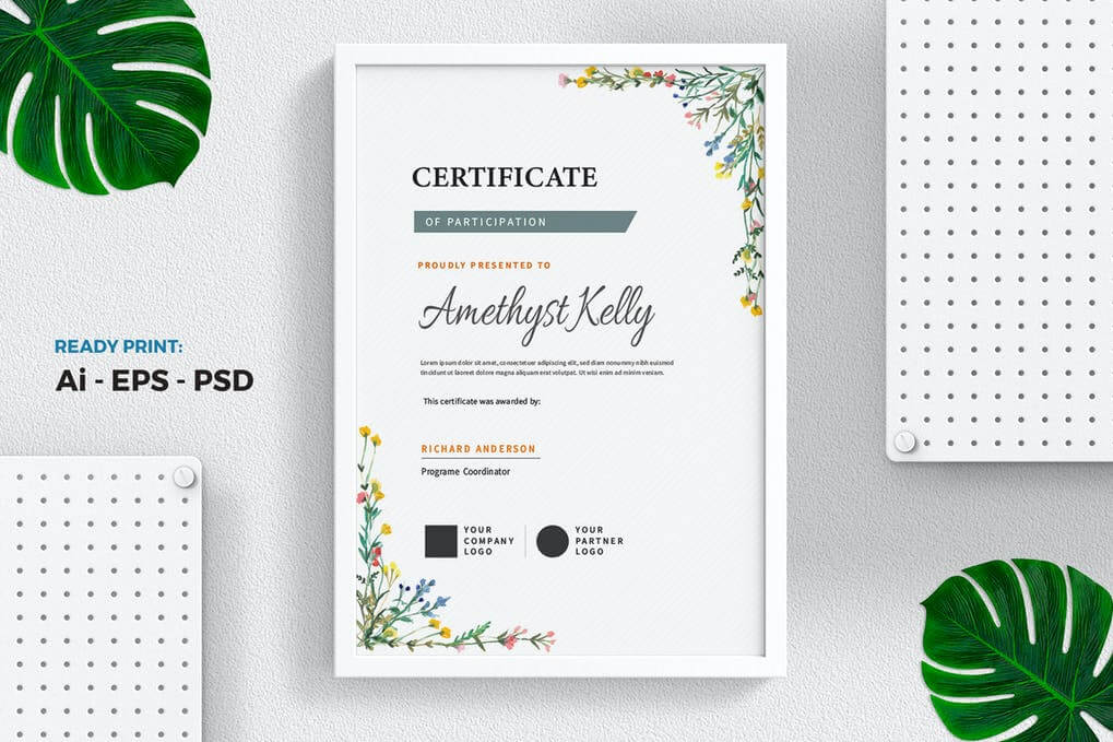 Floral Watercolor Certificate / Diploma Template