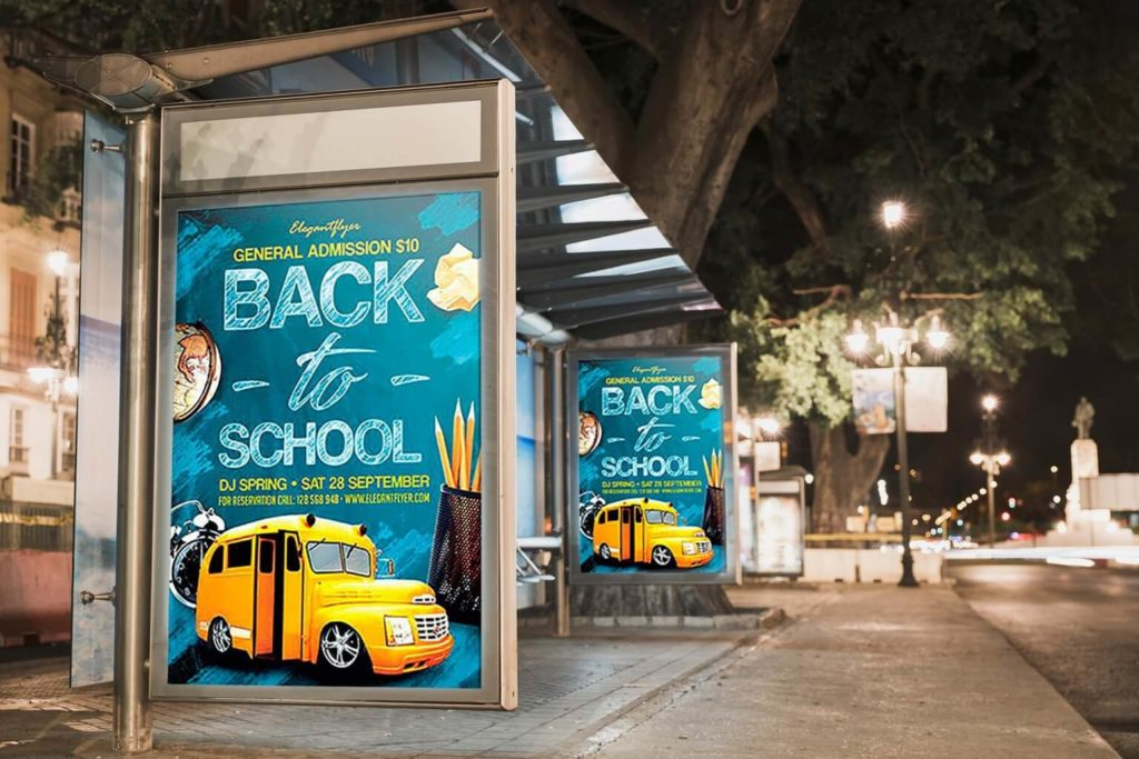 Free 2 Bus Stop Colorful Billboards Template in PSD