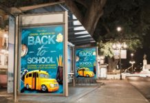 Free 2 Bus Stop Billboards Mockup (PSD)