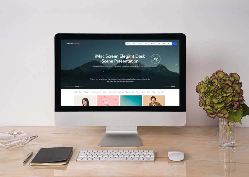 Free Elegant Desk iMac Texture Mockup PSD