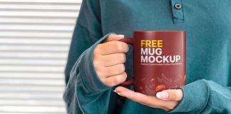 Free Hands Holding Mug Mockup