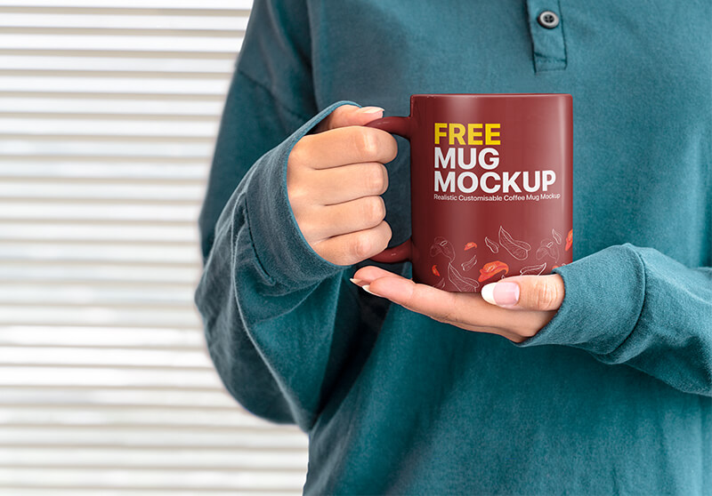 Free Female Hands Holding Mug Mockup PSD Template