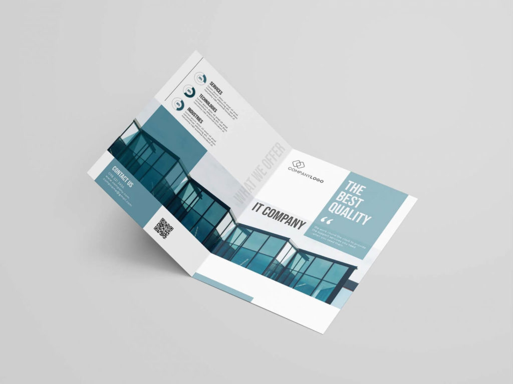 Free IT Company Bi-fold Brochure Template in PSD