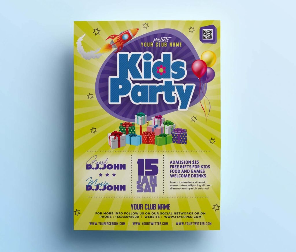Free Attractive Kids Party Flyer Template in PSD