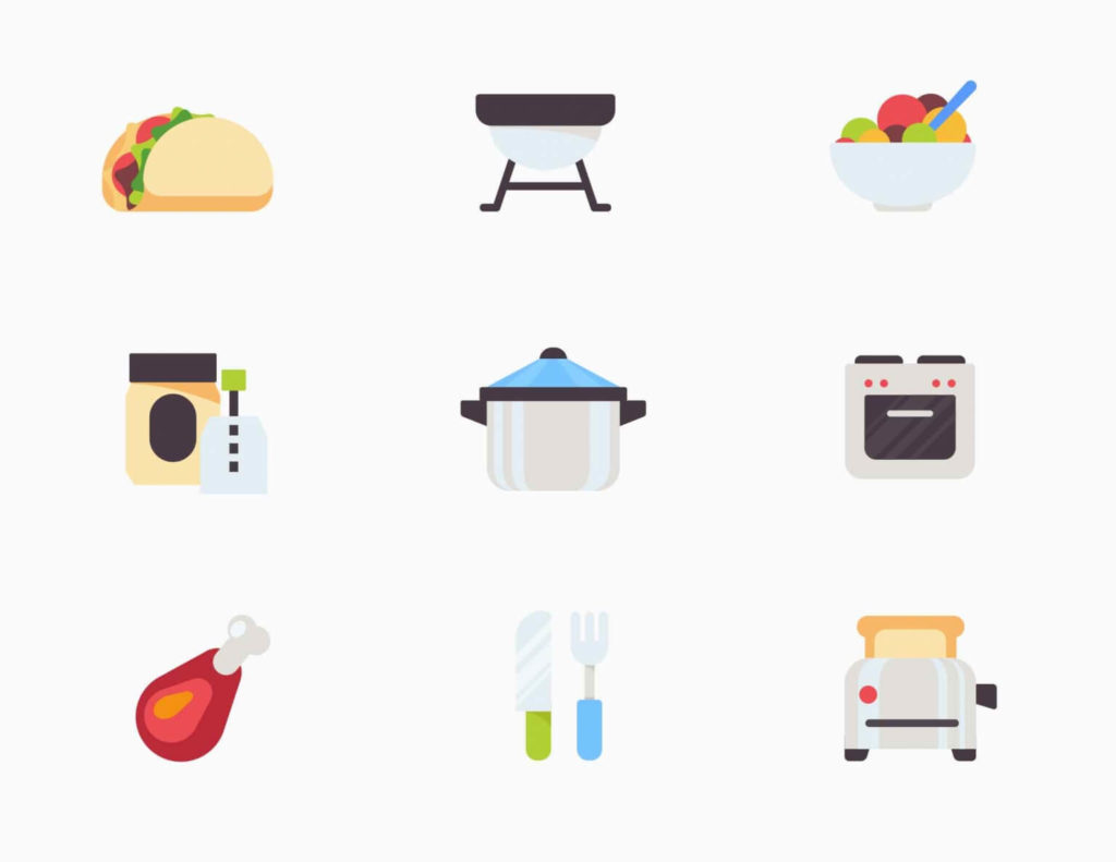 Free Tasty Kitchen-Food Vector Icons in AI