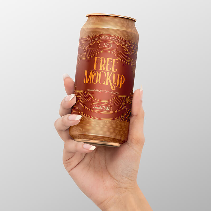 Free Realistic Drink Can Mockup PSD Template