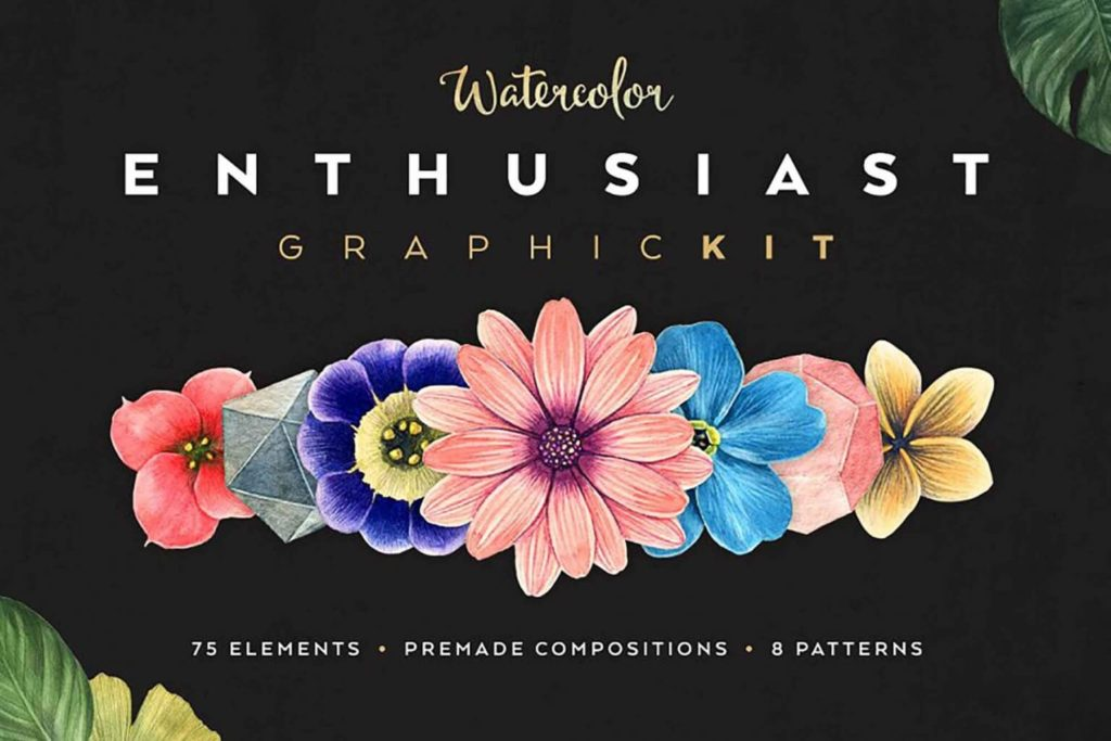 Free Water color Enthusiast Graphic Pack in AI & PNG