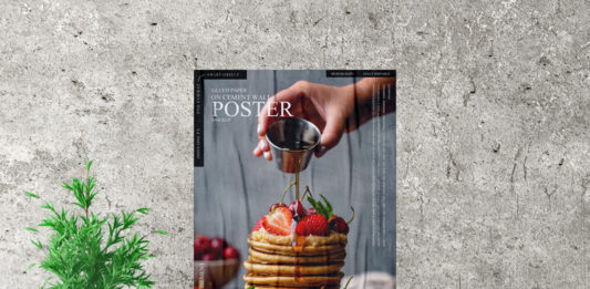 Glued Paper on Cement Wall Poster Mockup
