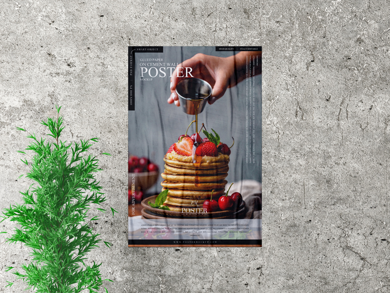 Free Glued Paper on Cement Indoor Wall Poster Mockup