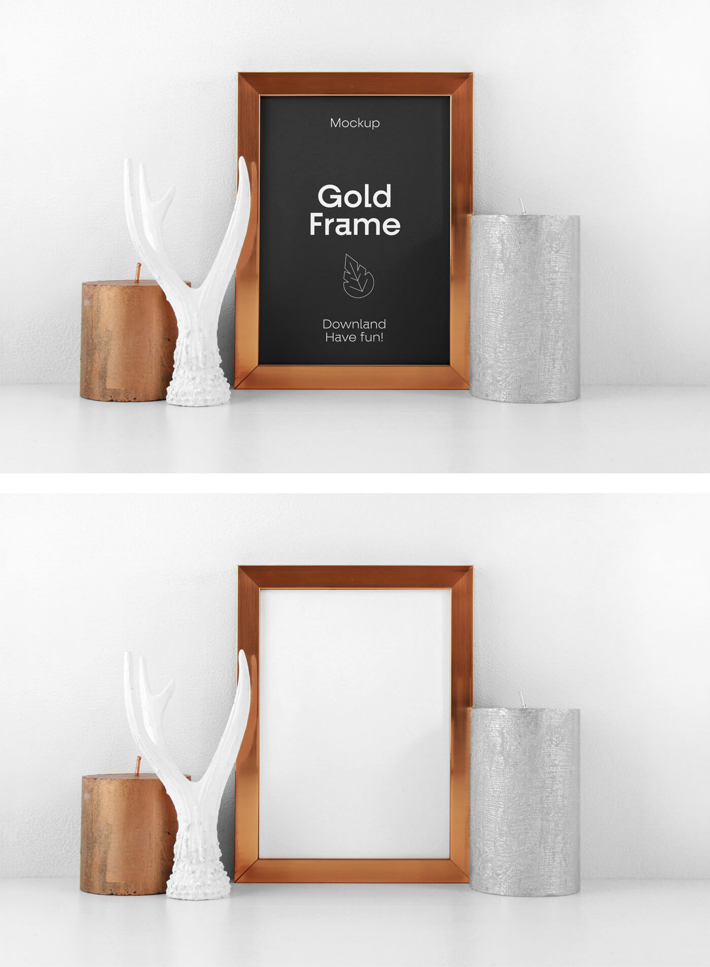Free Classic Golden Frame PSD Mockup Template