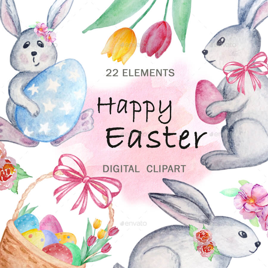 Happy Easter. Watercolor Clipart