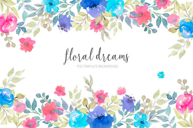 Lovely floral background with watercolor flowers Free Psd