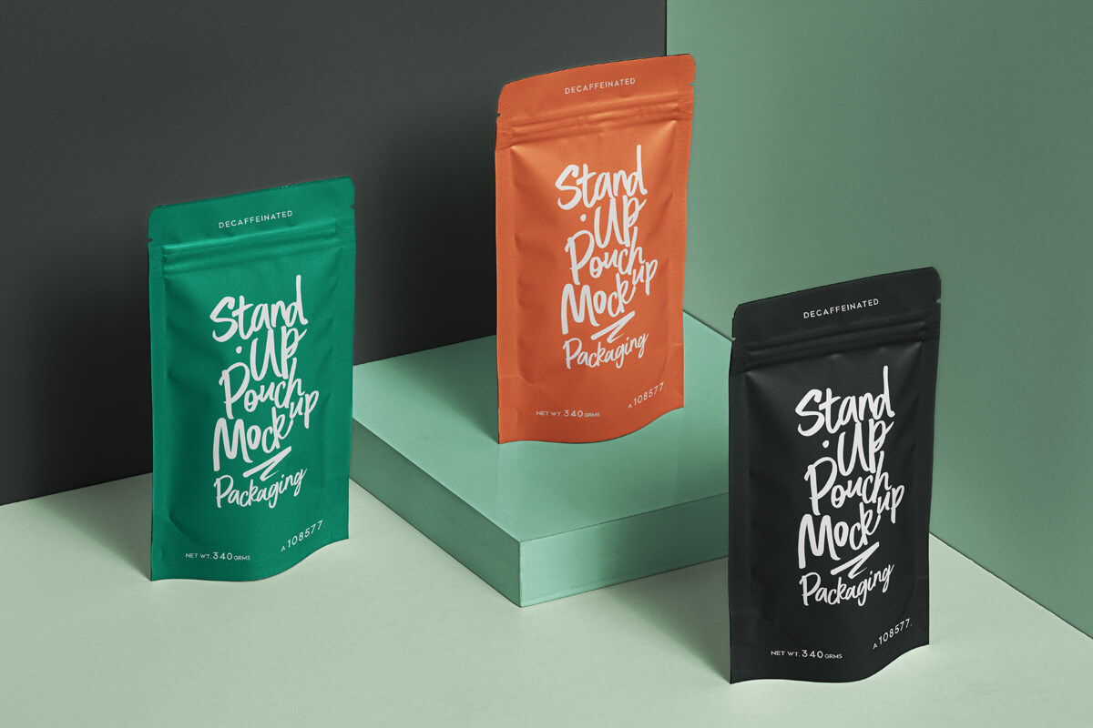 Free Packaging Stand Up Pouch Mockup